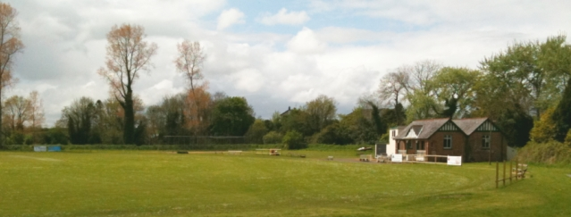 View of pitch and pavilion, Donaghcloney Cricket Club